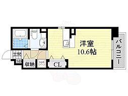 エスタシオン高石 1階ワンルームの間取り