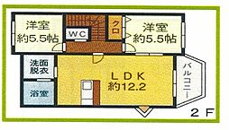 トレステーラ椎田 2階2LDKの間取り