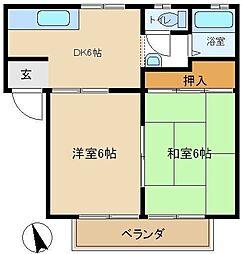 西尾ハイツ 202[2階]の間取り