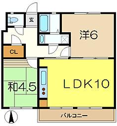 汐見台団地1407棟[1階]の間取り