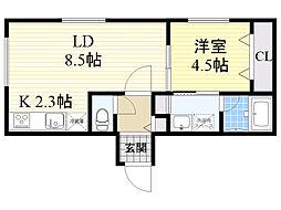 札幌市営東豊線 新道東駅 徒歩5分の賃貸マンション 3階1LDKの間取り