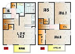 ラシーヌyugawa A棟[103号室]の間取り