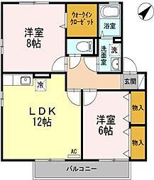 セジュールプルミエ A棟[2階]の間取り