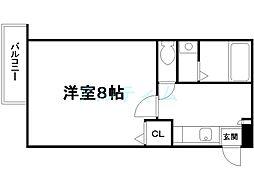 アークリード三十三間堂 1階1Kの間取り