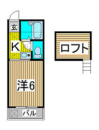 埼玉県さいたま市南区神明1丁目の賃貸アパートの間取り