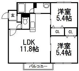 そふぃおーね円山北二条[102号室]の間取り