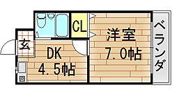 セジュール八戸ノ里[109号室]の間取り