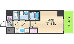 JR大阪環状線 福島駅 徒歩14分の賃貸マンション 6階1Kの間取り