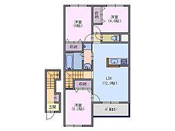 (仮)天理市東井戸堂町新築アパート[2階]の間取り