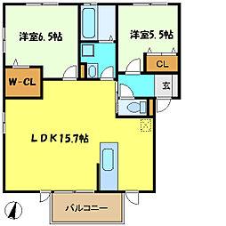 埼玉県さいたま市中央区桜丘2丁目の賃貸アパートの間取り
