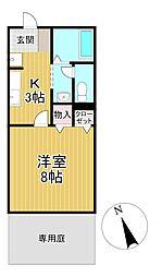 福岡県久留米市山川神代1丁目の賃貸アパートの間取り
