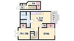 JR姫新線 余部駅 徒歩20分の賃貸アパート 2階2LDKの間取り