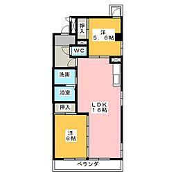 ガーデンクレスト小田井[2階]の間取り
