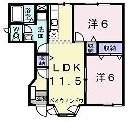 カーサヒサマツ[1階]の間取り