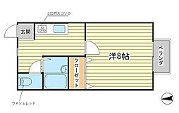 JR赤穂線 播州赤穂駅 徒歩21分の賃貸アパート 2階1Kの間取り