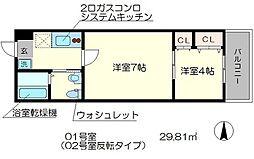 nico西京極 1階2Kの間取り