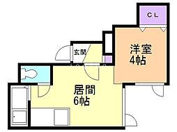 LILA48 1階1DKの間取り