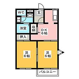 ニューエステートB[1階]の間取り