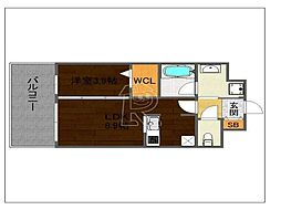 福岡県福岡市中央区西中洲の賃貸マンションの間取り