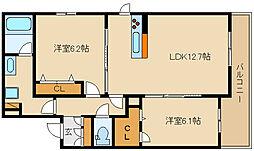 近鉄大阪線 法善寺駅 徒歩1分の賃貸マンション 3階2LDKの間取り