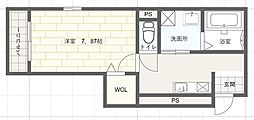 エレアージュ姫路駅南 1階ワンルームの間取り