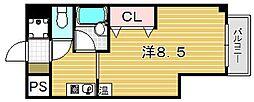 大阪府吹田市朝日町の賃貸マンションの間取り