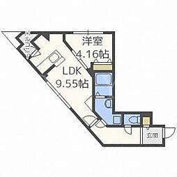 北海道札幌市西区発寒四条4丁目の賃貸マンションの間取り