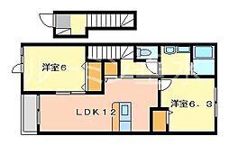 兵庫県加東市木梨の賃貸アパートの間取り