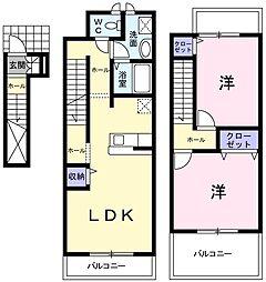 静岡県静岡市葵区川合3丁目の賃貸アパートの間取り