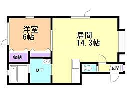 富士見ビレッジ 1階1LDKの間取り
