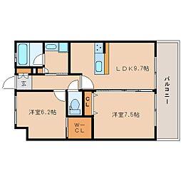 近鉄けいはんな線 学研奈良登美ヶ丘駅 徒歩4分の賃貸マンション 2階2LDKの間取り
