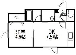 北海道札幌市手稲区前田九条14丁目の賃貸アパートの間取り