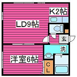 北海道札幌市東区北四十四条東14丁目の賃貸アパートの間取り