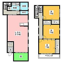 [テラスハウス] 愛知県名古屋市緑区黒沢台2丁目 の賃貸【/】の間取り