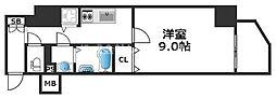 ワールドアイ天王寺ミラージュII 9階1Kの間取り