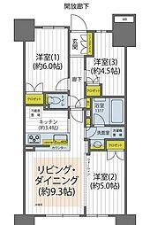 都営大江戸線 勝どき駅 徒歩7分の賃貸マンション 14階3LDKの間取り