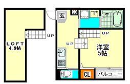 愛知県名古屋市東区大曽根1丁目の賃貸アパートの間取り