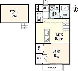 リゾート三日月 A棟[203号室]の間取り