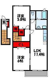 福岡県遠賀郡遠賀町大字尾崎の賃貸アパートの間取り