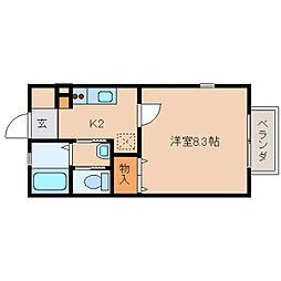 奈良県奈良市宝来2丁目の賃貸アパートの間取り
