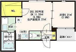 仮称:ハーモニ−テラス・東大阪市荒川三丁目A[302号室]の間取り