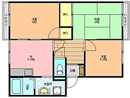 奈良県生駒郡三郷町勢野東6丁目の賃貸アパートの間取り