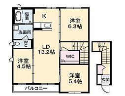広島県福山市神辺町字下御領の賃貸アパートの間取り