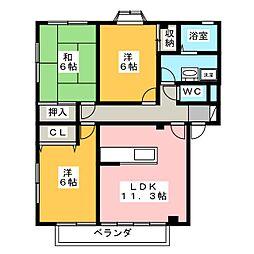 ライフイン・パラス B棟[2階]の間取り