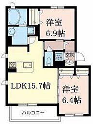 JR東海道・山陽本線 芦屋駅 徒歩9分の賃貸マンション 2階2LDKの間取り