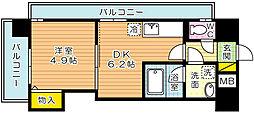 デザイナープリンセス・中津口[6階]の間取り