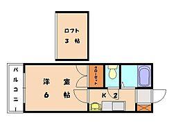 福岡県福岡市東区香椎駅東4丁目の賃貸アパートの間取り