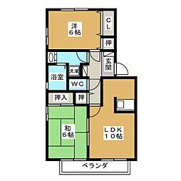 アンソレイユA[1階]の間取り