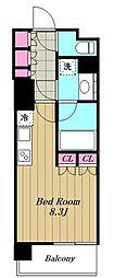 東急東横線 都立大学駅 徒歩11分の賃貸マンション 2階ワンルームの間取り