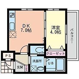 オレオマンション[1階]の間取り